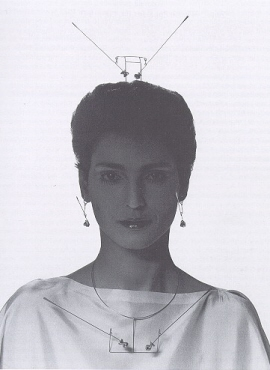 "Two lines with spirals.Hairpin, necklace (with variant), earrings and ""Tit clip"""