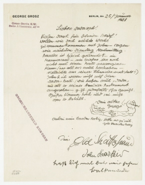 Brief von George Grosz an Raoul Hausmann. Berlin