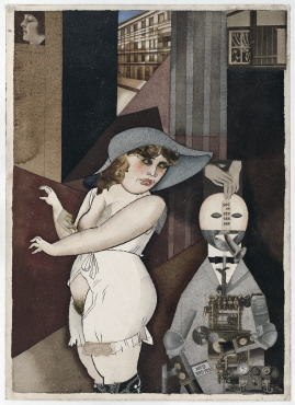 """Daum"" marries her pedantic automaton ""George"" in May 1920, John Heartfield is very glad of it. (Meta-Mech. Constr. nach Prof. R.Hausmann)"