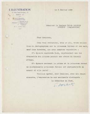 Brief von der Redaktion der L´Illustration, Paris an Erich Salomon