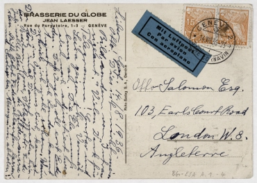 Postkarte von Erich Salomon an Otto Salomon (Peter Hunter) in London