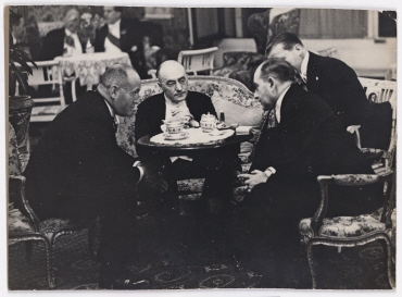 German statesman in talks with Italian Prime Minister Benito Mussolini and his Foreign Minister Dino Grandi at the Hotel Excelsior in Rome