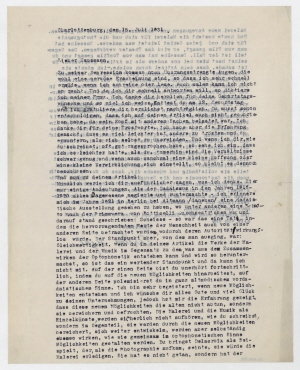 Brief von Arthur Segal an Raoul Hausmann. Berlin