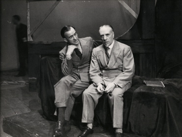 Sir Thomas Beecham behind the stage at Covent Garden Opera House in London