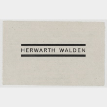 Business card from Herwarth Walden. With a message on the reverse side from Herwarth Walden to Ludwig Justi regarding the recommendation of the artist Sascha Wiederhold