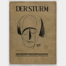 "Der Sturm: Quarterly. With illustration ""Portrait drawing"" (i.e. Herwarth Walden) of Béla Kádár on the title page"